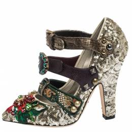 Dolce&Gabbana Multicolor Mixed Media Crystal Embellished Mary Jane Pumps Size 37 296966