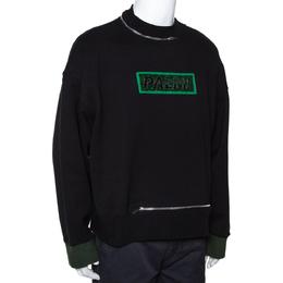 Palm Angels Black Cotton Metal Logo & Zip Detail Sweatshirt M 291627