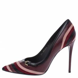 Salvatore Ferragamo Multicolor Lizard Leather, Suede And Leather Farida Pointed Toe Pumps Size 38.5 291857