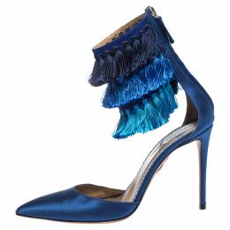 Claudia Schiffer For Aquazzura Blue Satin And Suede Tasseled Loulou Pumps Size 38 291859
