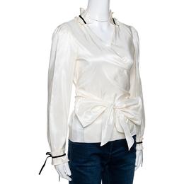 Ch Carolina Herrera Cream Silk Bow Tie Front Blouse M 290958
