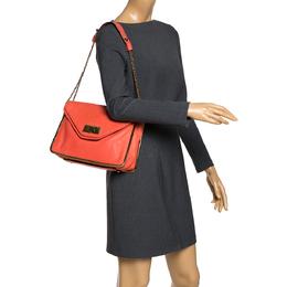 Chloe Coral Orange Leather Medium Sally Flap Shoulder Bag 291048