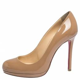 Christian Louboutin Beige Patent Leather New Simple Platform Pumps Size 38.5 291911