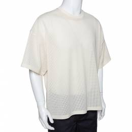 Fear Of God Fifth Collection Cream Perforated Knit Oversized T Shirt S 291599