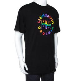 Vetements Black Cotton Rainbow Georgia Flag Print T Shirt S 291646