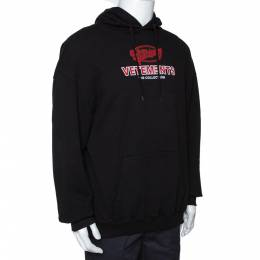 Vetements Black Cotton Graphic Print Oversized Hoodie S 291657