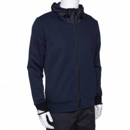 Fendi Navy Blue Knit Concealed Hooded Zip Front Jacket M 291655