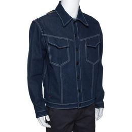 Fendi Navy Blue Denim & Latex Embossed Logo Detail Jacket L 291654
