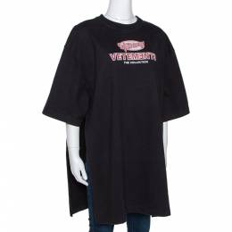 Vetements Black Printed Cotton Split Side Oversized T-Shirt XS 291622