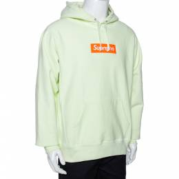 Supreme Pale Green Knit Logo Embroidered Hoodie L 291623