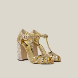 Dolce&Gabbana Gold Glittering Crystal-Embellished Leather Sandals Size IT 40 288244