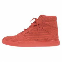 Balenciaga Red Perforated High Top Sneakers Size 45 8634