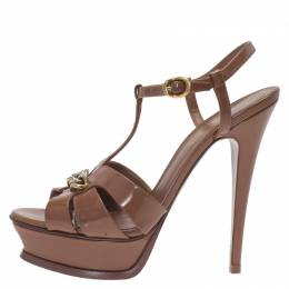 Saint Laurent Brown Patent Tribute Chain Detail Platform Sandals Size 37.5 292442