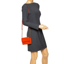 DKNY Orange Leather Flap Shoulder Bag 292398