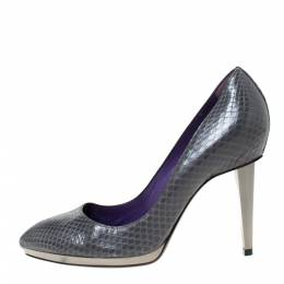 Sergio Rossi Grey Python Leather Pointed Toe Pumps Size 38 292253