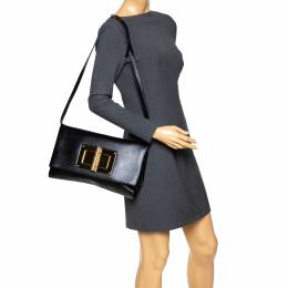 Tom Ford Black Leather Natalia Convertible Clutch 292241