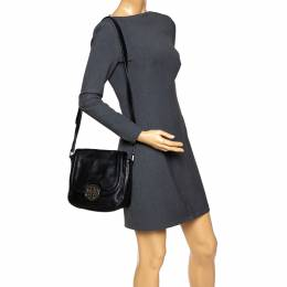 Tory Burch Black Leather Flap Shoulder Bag 292403
