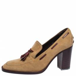 Tod's Tan Suede Tassel Loafer Pumps Size 37 Tod's 291979