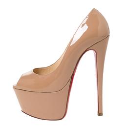 Christian Louboutin Beige Patent Leather Jamie Peep Toe Platform Pumps Size 34.5 292263