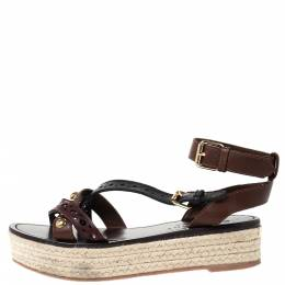 Burberry Brown/Black Studded Malthouse Espadrille Flats Size 38.5 292261