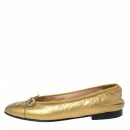 Chanel Gold Leather Cap Toe CC Bow Ballet Flats Size 38 292269