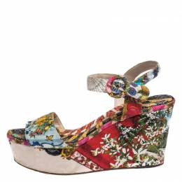 Dolce&Gabbana Multicolor Floral Printed Fabric Platform Wedge Sandals Size 38 292007