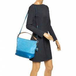 Coach Two Tone Blue Leather Perforated Hampton Shoulder Bag 291865