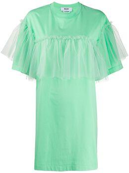 MSGM платье-футболка со вставкой из тюля 2842MDA166207498