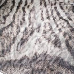 Roberto Cavalli Grey Animal Print Silk Scarf 291954