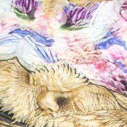 Roberto Cavalli Multicolor Eagle & Floral Print Silk Scarf 291956