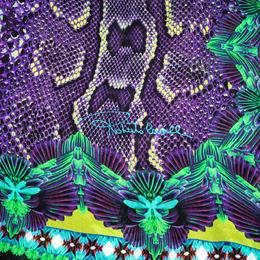 Roberto Cavalli Purple Snake Skin Print Silk Scarf 291957