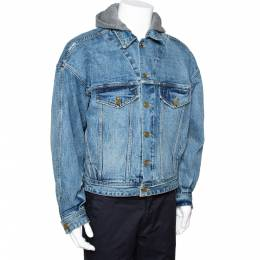Fear Of God Fifth Collection Indigo Denim Hooded Trucker Jacket M 291945