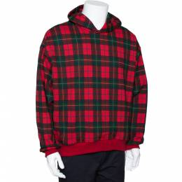 Fear Of God Fifth Collection Red Plaid Cotton Hoodie M 291944