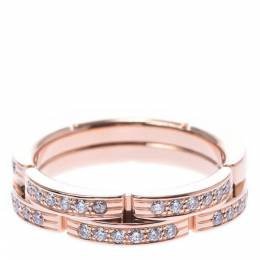 Cartier Maillon Panthere Wedding Band 18K Rose Gold Diamond Ring Size 48 292380