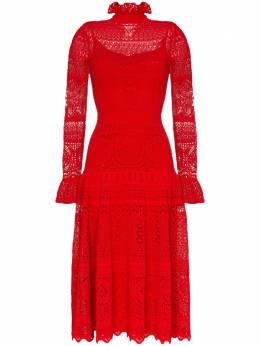 Alexander McQueen кружевное платье миди 610733Q1AMH