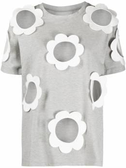 Viktor & Rolf футболка с прозрачными вставками и цветочной аппликацией 10ISOFTJERSEYGREYMELANGE
