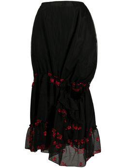 Simone Rocha присборенная юбка миди с цветочной вышивкой 33630346