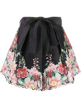 Zimmermann шорты с цветочным принтом и поясом 8206ABTD