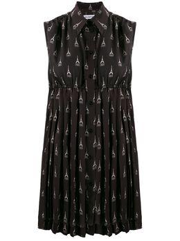 Balenciaga плиссированное платье Paris Explored без рукавов 595034TGL96