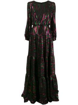 Saloni длинное платье с эффектом металлик 10077739