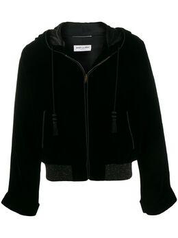 Saint Laurent бархатная куртка Djellaba с капюшоном 609107Y525R