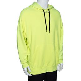 Palm Angels Fluorescent Yellow Logo Print Cotton Hoodie M 292392
