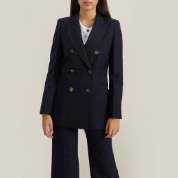 Victoria Beckham Blue Double-Breasted Wool-Blend Blazer UK 10 293625