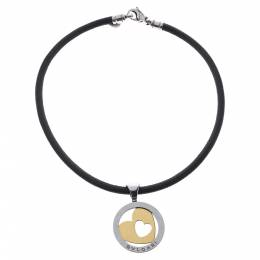 Bvlgari Tondo Heart 18K Gold & Stainless Steel Pendant Cord Necklace 292698