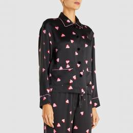 Marc Jacobs Black Heart Print Silk PJ Shirt XS 293360