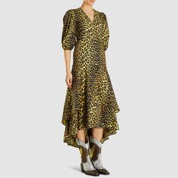Ganni Animal Bijou Leopard Print Wrap Dress DK 36 292902