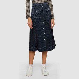 Ganni Blue Polka Dot Satin Midi Skirt DK 32 292919