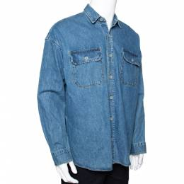 Fear Of God Indigo Light Wash Denim Long Sleeve Shirt S 292383