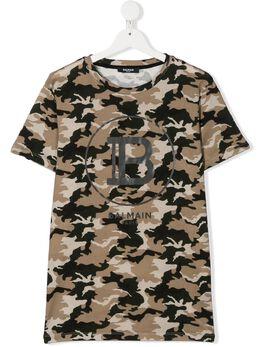 Balmain Kids футболка с камуфляжным принтом и логотипом 6M8581ME440720