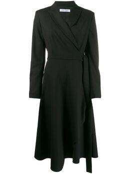 Max Mara асимметричное платье с запахом и длинными рукавами 12261193000
